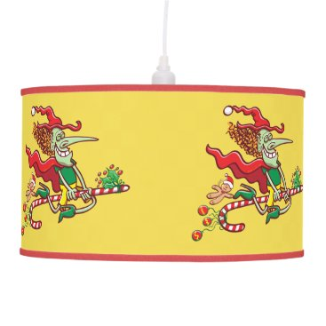 Halloween Themed Halloween witch flying on a Christmas candy cane Ceiling Lamp