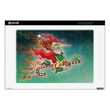 "Halloween Themed Halloween witch flying on a Christmas candy cane Decal For 13"" Laptop"