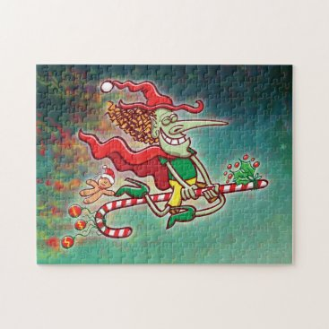 Halloween Themed Halloween witch flying on a Christmas candy cane Jigsaw Puzzle