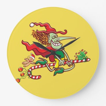 Halloween Themed Halloween witch flying on a Christmas candy cane Large Clock