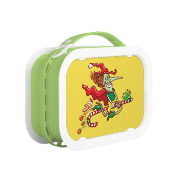 Halloween Themed Halloween witch flying on a Christmas candy cane Lunch Box