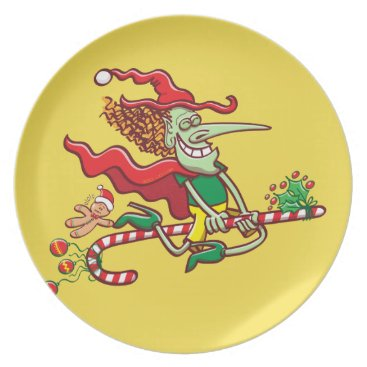 Halloween Themed Halloween witch flying on a Christmas candy cane Melamine Plate