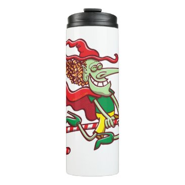 Halloween Themed Halloween witch flying on a Christmas candy cane Thermal Tumbler