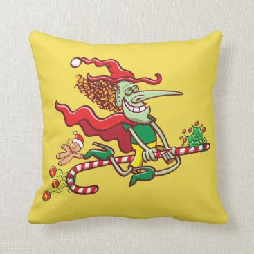 Halloween Themed Halloween witch flying on a Christmas candy cane Throw Pillow