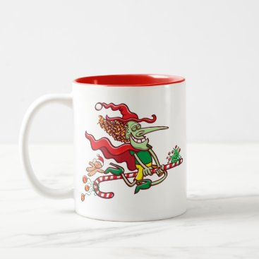 Halloween Themed Halloween witch flying on a Christmas candy cane Two-Tone Coffee Mug