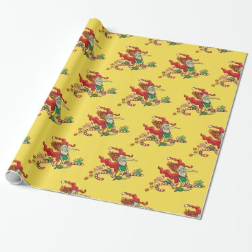 Halloween Themed Halloween witch flying on a Christmas candy cane Wrapping Paper