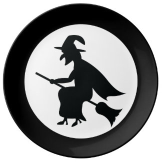 Halloween Witch Flying On Broom Silhouette Dinner Plate