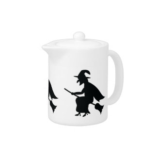 Halloween Witch Flying On Broom Silhouette Teapot