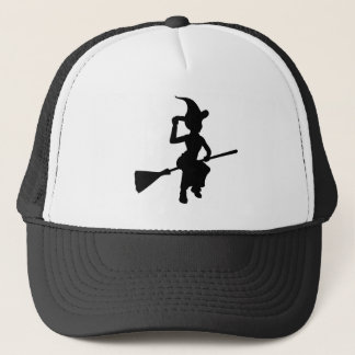 Halloween Witch Flying On Broomstick Silhouette Trucker Hat