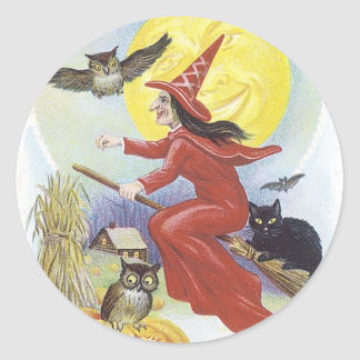 Halloween Witch Flying on Broomstick Sticker