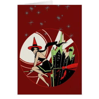 Halloween Witch Flying (vintage) Card