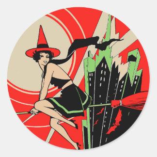 Halloween Witch Flying (vintage) Classic Round Sticker