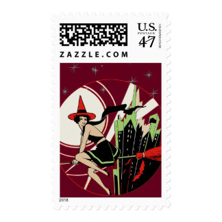 Halloween Witch Flying (vintage) Postage
