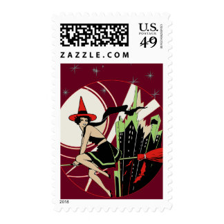 Halloween Witch Flying (vintage) Postage Stamps