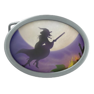 Halloween Witch Full Moon Belt Buckle
