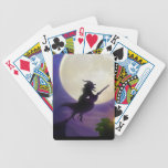 """Halloween Witch Full Moon Bicycle Playing Cards<br><div class=""""desc"""">halloween &quot;trick or treat&quot; Witch pumpkin scary witches ghost costumes orange pumpkins evil moon hallow&#39;s eve broom broomstick &quot;jack o lantern&quot; spook spooky &quot;pumpkin faces&quot; nightmare bat bats &quot;full moon&quot;</div>"""