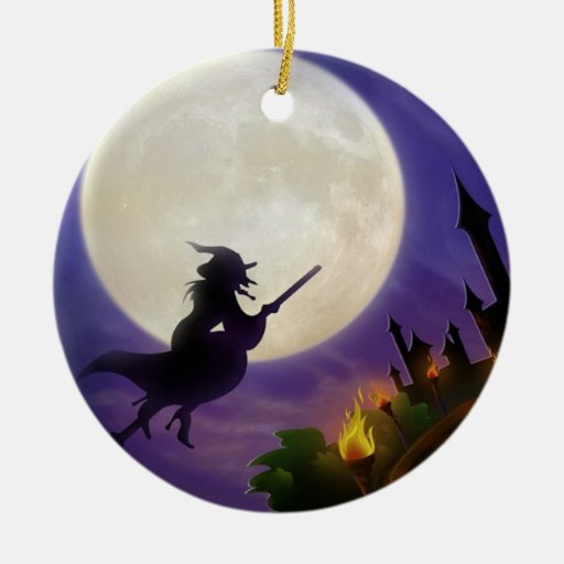 Halloween Witch Full Moon Christmas Tree Ornaments Zazzle