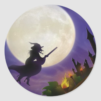 Halloween Witch Full Moon Classic Round Sticker