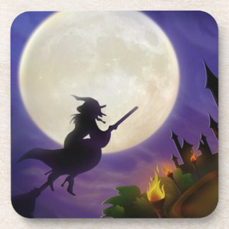 Halloween Witch Full Moon Beverage Coaster