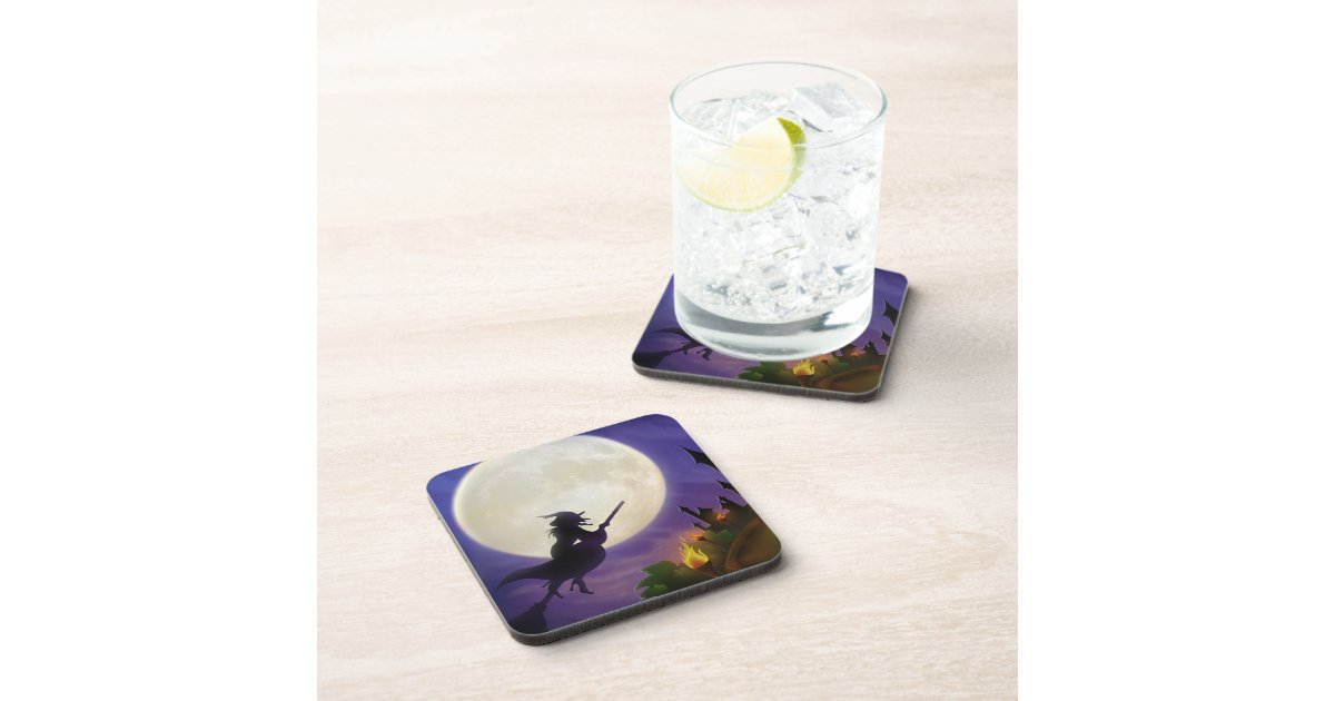 Halloween Witch Full Moon Drink Coaster | Zazzle