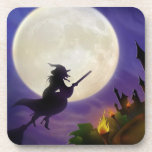 Halloween Witch Full Moon Drink Coaster