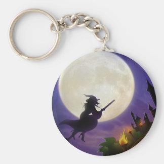 Halloween Witch Full Moon Basic Round Button Keychain
