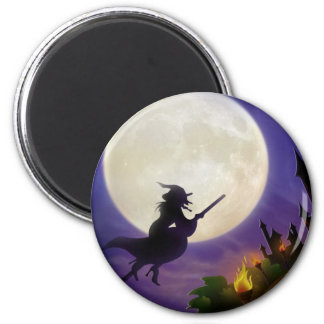 Halloween Witch Full Moon Magnet