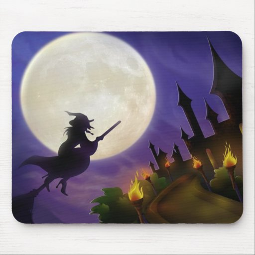 Halloween Witch Full Moon Mouse Pad