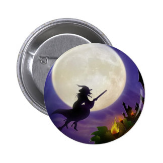 Halloween Witch Full Moon Pinback Button