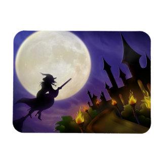 Halloween Witch Full Moon Rectangular Photo Magnet