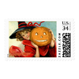 Halloween Witch Girl and a Pumpkin Postage