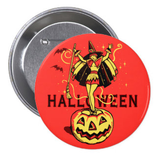 Halloween Witch Girl (vintage) Pinback Buttons
