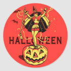 Halloween Witch Girl (vintage) Classic Round Sticker