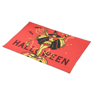 Halloween Witch Girl (vintage) Cloth Place Mat