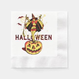 Halloween Witch Girl (vintage) Coined Cocktail Napkin