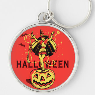 Halloween Witch Girl (vintage) Keychain