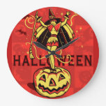 Halloween Witch Girl (vintage) Large Clock