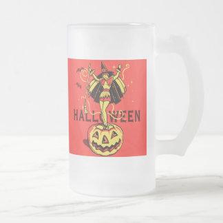 Halloween Witch Girl (vintage) 16 Oz Frosted Glass Beer Mug