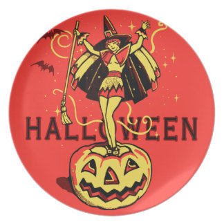 Halloween Witch Girl (vintage) Party Plates