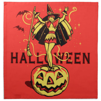 Halloween Witch Girl (vintage) Printed Napkins