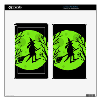 Halloween witch - green moon skin for kindle fire