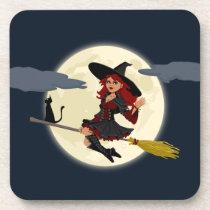 Halloween Witch Hard Plastic coasters