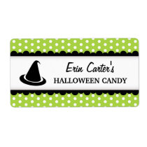 Halloween witch hat green polka dot canning jar label