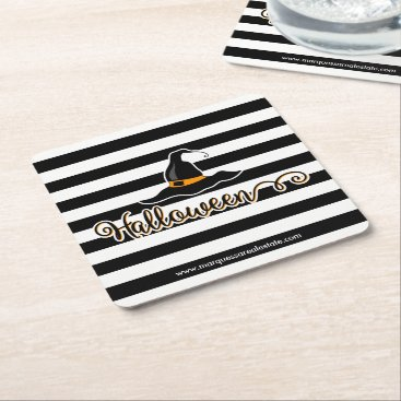 Professional Business Halloween Witch Hat Square Paper Coaster