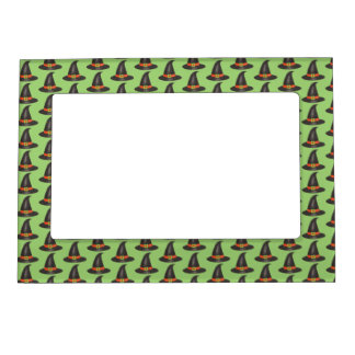 Halloween Witch Hat Trick or Treat Green Black Magnetic Frame