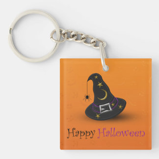 Halloween Witch Hat with Spider - Acrylic Keychain