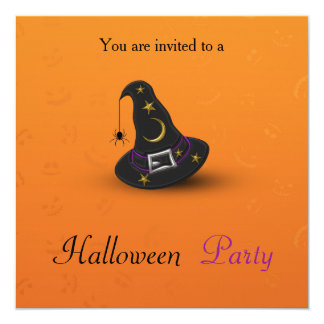 Halloween Witch Hat with Spider - Party Invitation