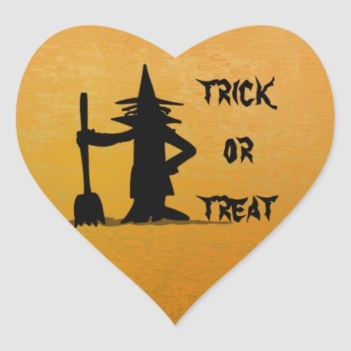 Halloween witch heart stickers