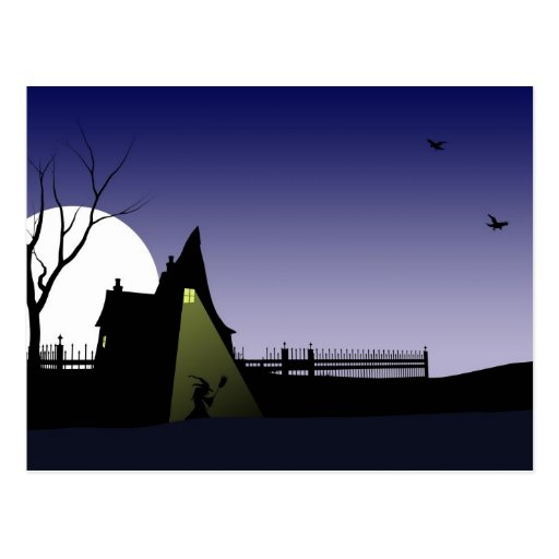 Halloween Witch House Post Cards