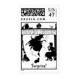 Halloween Witch in Chimney Postage Stamp